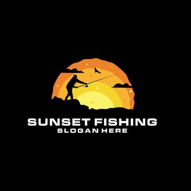 Sunset fishing silhouette Premium Vector