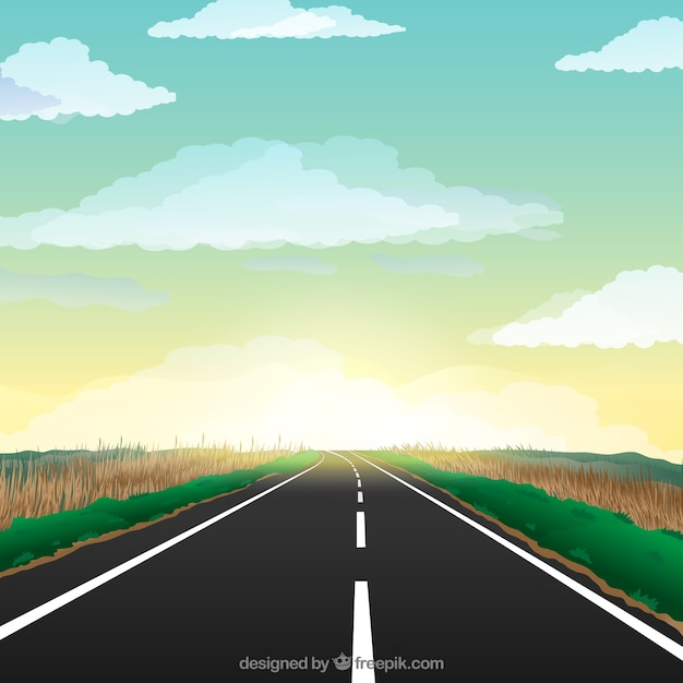 Sunset on the highway Free Vector