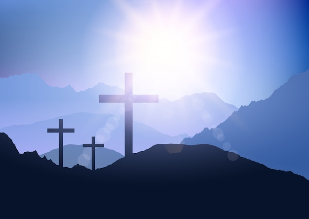 Sunset landscape with cross for easter Premium Vector