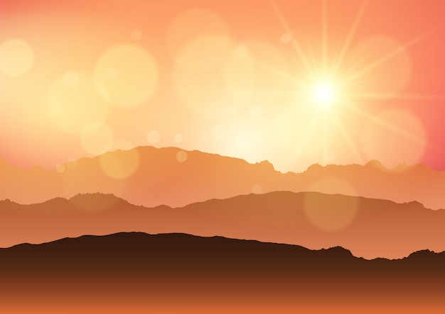 Sunset landscape Free Vector