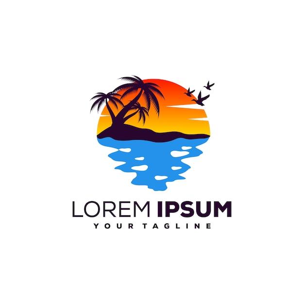 Sunset logo design vector Premium Vector