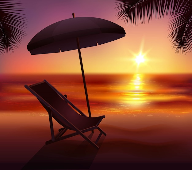 Sunset lounge and umbrella on beach Free Vector