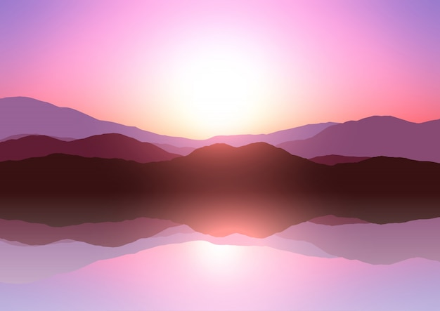 Sunset mountain landscape Free Vector