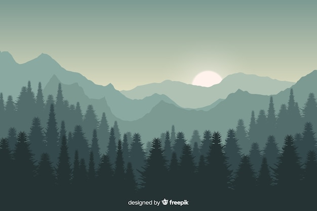 Sunset mountains landscape with gradient colors Premium Vector