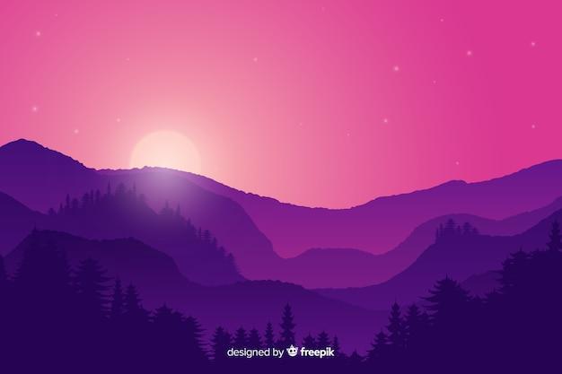 Sunset mountains landscape with purple gradient colors Free Vector