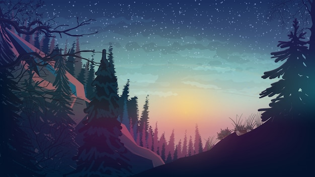 Sunset in the mountains with pine forest Premium Vector