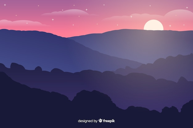 Sunset in mountains with starry night Free Vector