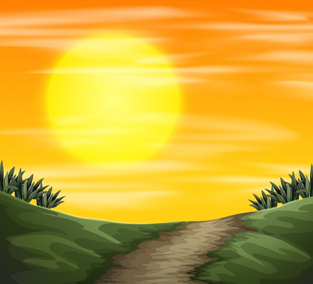 A sunset nature view Free Vector