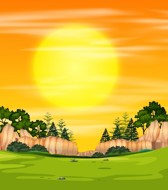A sunset nature view Vector | Free Download