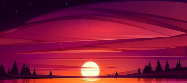 호수에 일몰, 태양이 나무로 둘러싸인 연못을 내려가는 붉은 하늘 무료 벡터