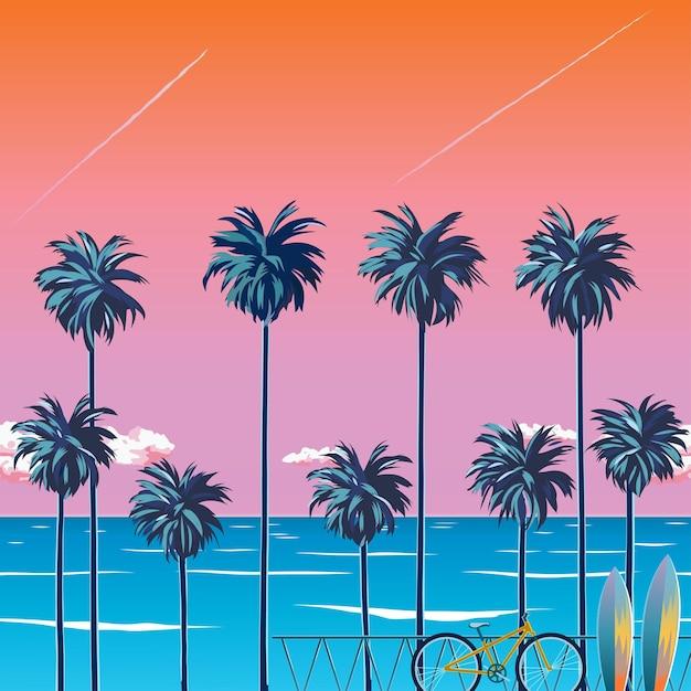 ヤシの木、ターコイズブルーの海、雲とオレンジ色の空とビーチに沈む夕日。ビーチでサイクリング。夏休みの熱帯の背景。サーフィンビーチ。図 Premiumベクター