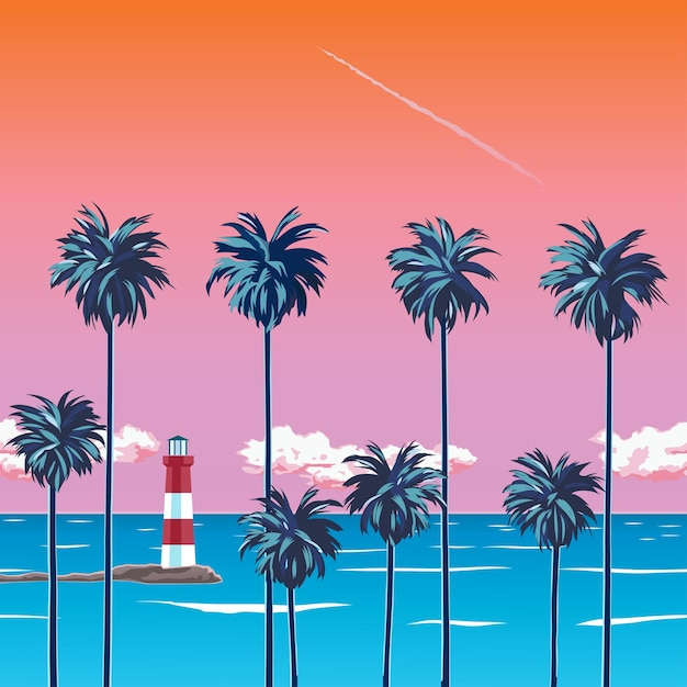 ヤシの木、ターコイズブルーの海、雲とオレンジ色の空とビーチに沈む夕日。海岸の灯台。夏休みのトロピカル。サーフィンビーチ。図 Premiumベクター