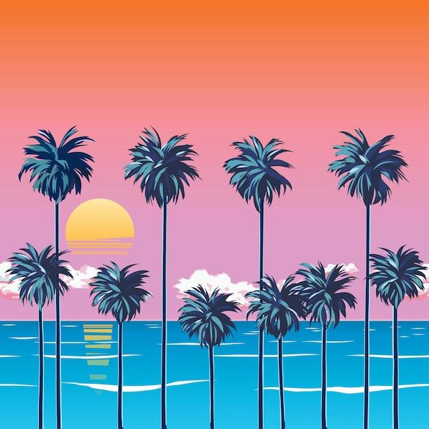 ヤシの木、ターコイズブルーの海、雲とオレンジ色の空とビーチに沈む夕日。地平線上の太陽。夏休みにはトロピカル。サーフィンビーチ。図 Premiumベクター
