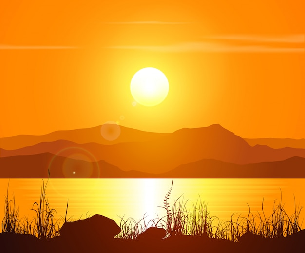 Sunset in the rocky mountains Premium Vector