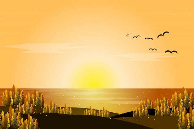 Sunset sea landscape Premium Vector