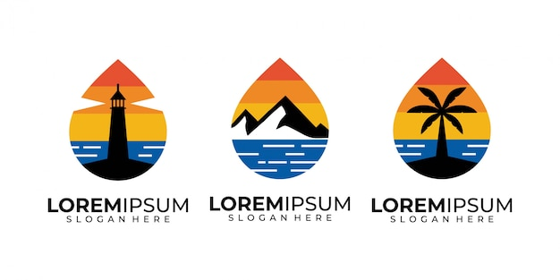 夕日、海、山、木、灯台、ビーチのロゴデザイン Premiumベクター