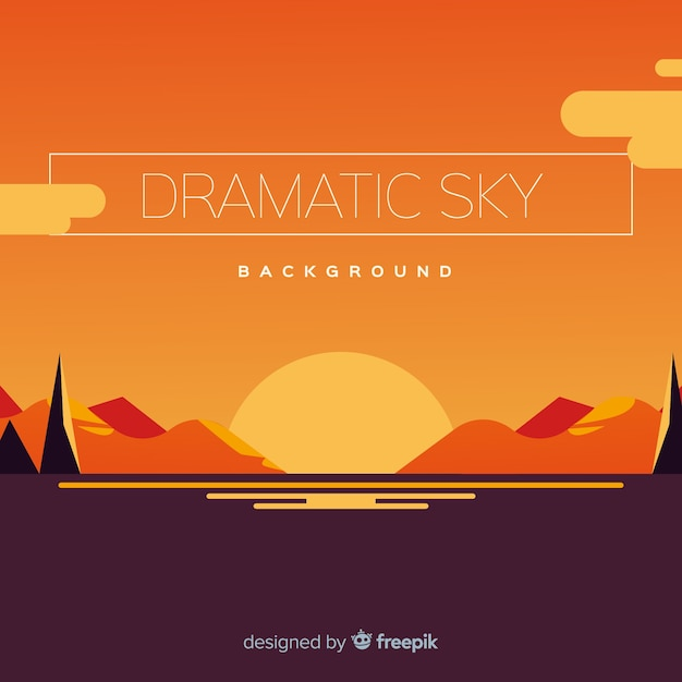 Sunset sky background Free Vector