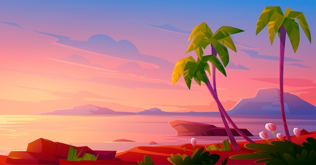 Sunset or sunrise on beach, tropical landscape Free Vector