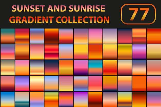 Sunset and sunrise gradient set. big collection abstract backgrounds with sky.  illustration. Premiu