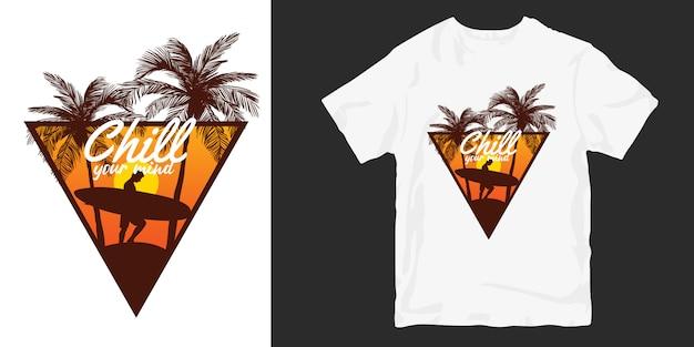 Дизайн футболки sunset surfer, цитаты из слогана chill your mind Premium векторы