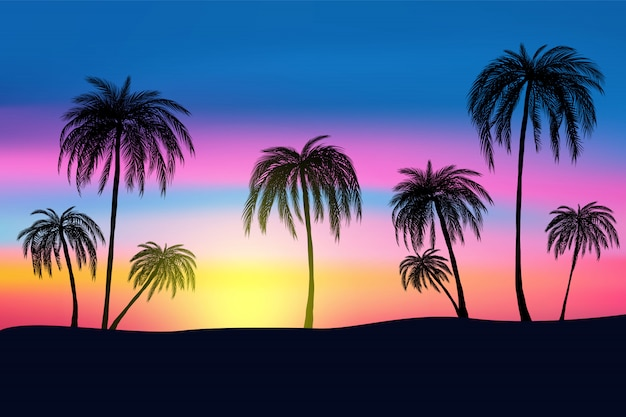 Sunset and tropical palm trees with colorful landscape Premium Vector
