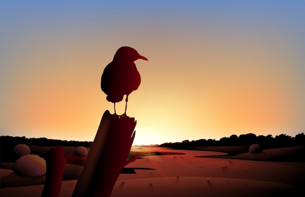 A sunset view of the desert with a big bird Free Vector