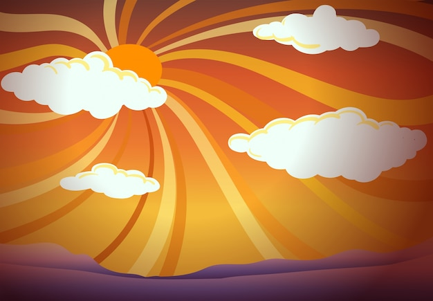 A sunset view with clouds Free Vector
