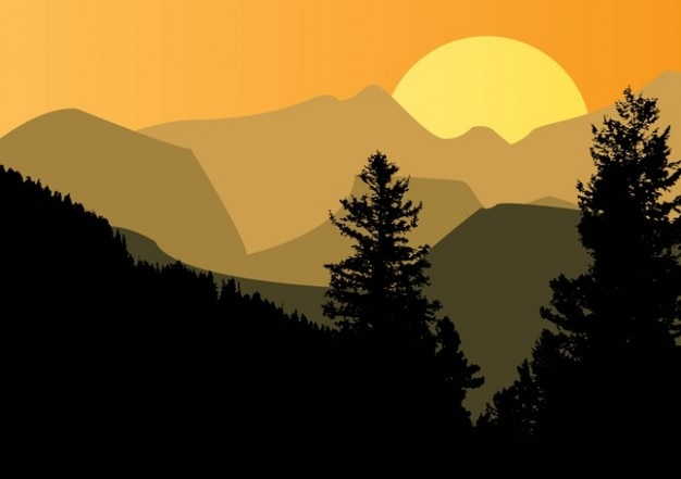 Sunset with mountain silhouette vector free download Mountain silhouette