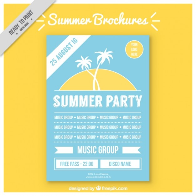 Sunset with palm tree summer flyer