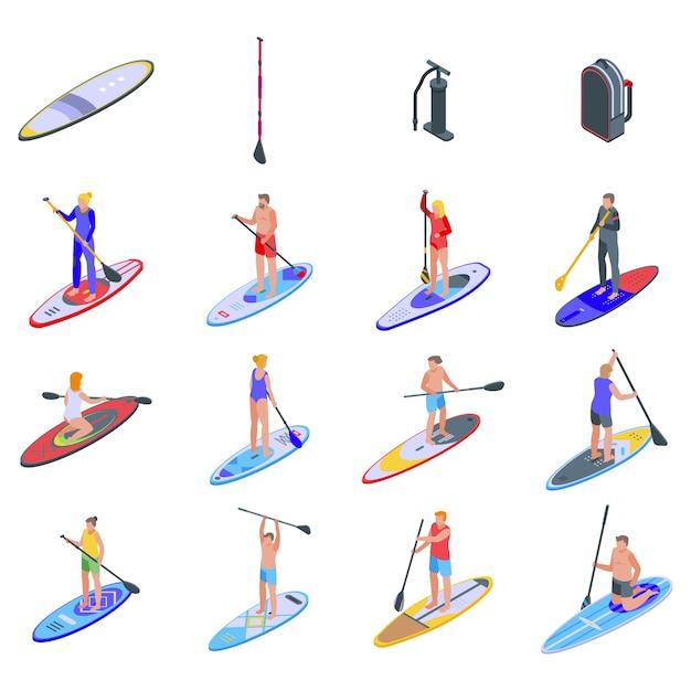 Sup surfing icons set. Premium Vector