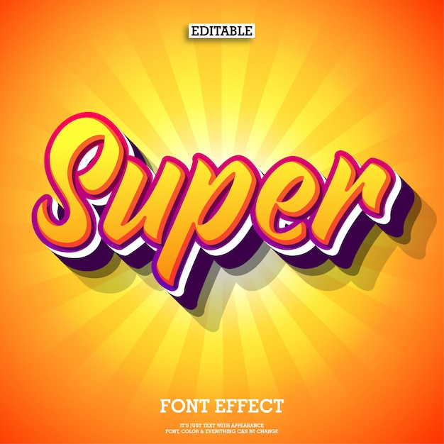 Super amazing text effect with orange color Premium Vector