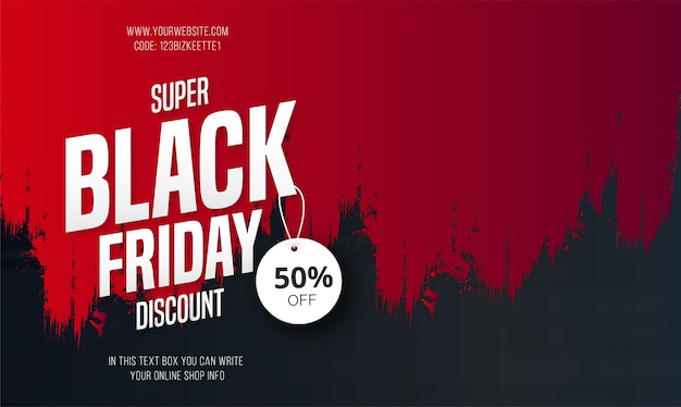 Super black friday sale banner with red brush stroke Free Vector