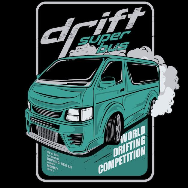 Супер дрейф автобуса, автомобиль векторная иллюстрация Premium векторы