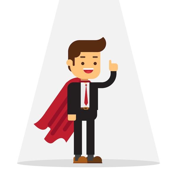 Super business man standing in spotlight Premium Vector
