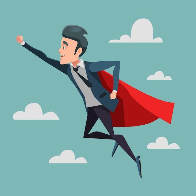Супер бизнесмен в красной накидке, летящей к успеху. бизнес-супергерой. Premium векторы