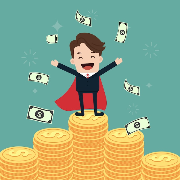 Super businessman stand on stacks of gold coins Premium Vector