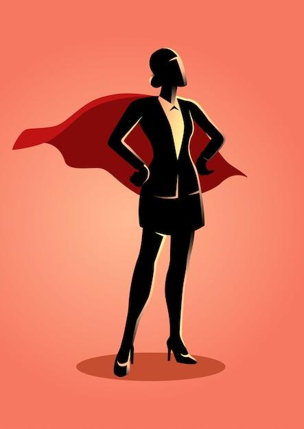 Super businesswoman Premium Vector