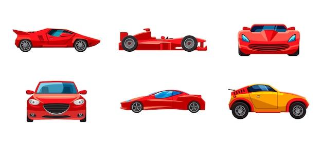 Super car set. cartoon set of super car Premium Vector