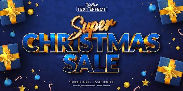 슈퍼 크리스마스 판매 텍스트, 황금 색상 스타일 편집 가능한 텍스트 효과 프리미엄 벡터