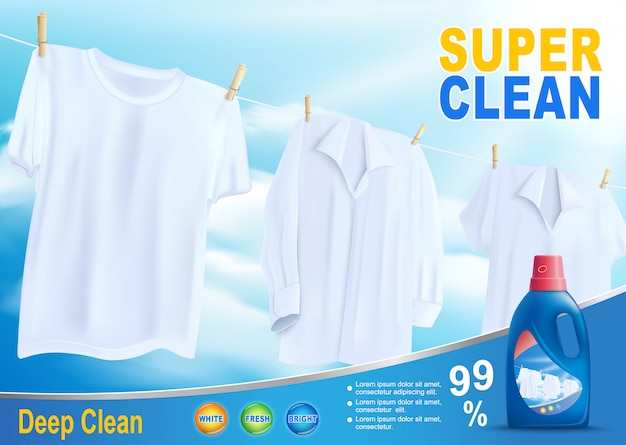 Super clean washing with new detergent vector Premium Vector