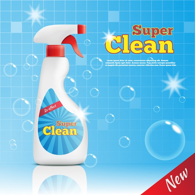 Super cleaner advertising template Free Vector