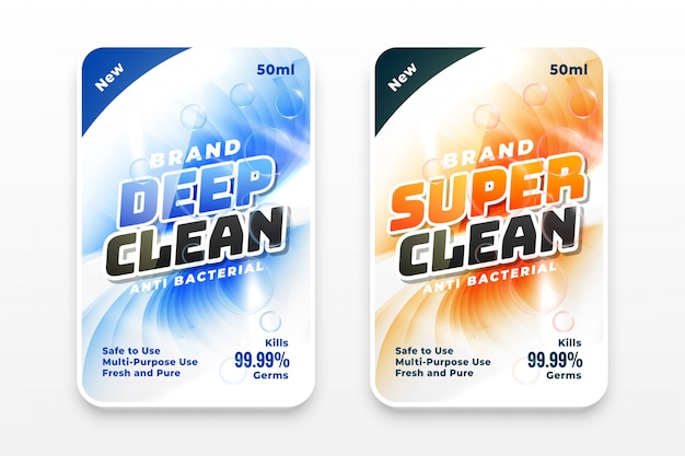 Super cleaner and disinfectant labels set of two Free Vector