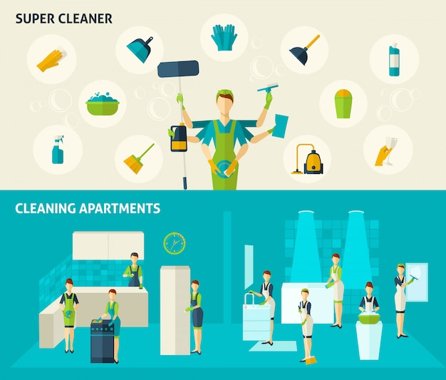 Super cleaner flat banners set Free Vector
