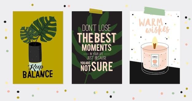 Супер милый набор открыток и постеров хюгге. симпатичные иллюстрации осенью и зимой элементы hygge. изолированный. мотивационная типография цитат хюгге. скандинавский стиль Premium векторы