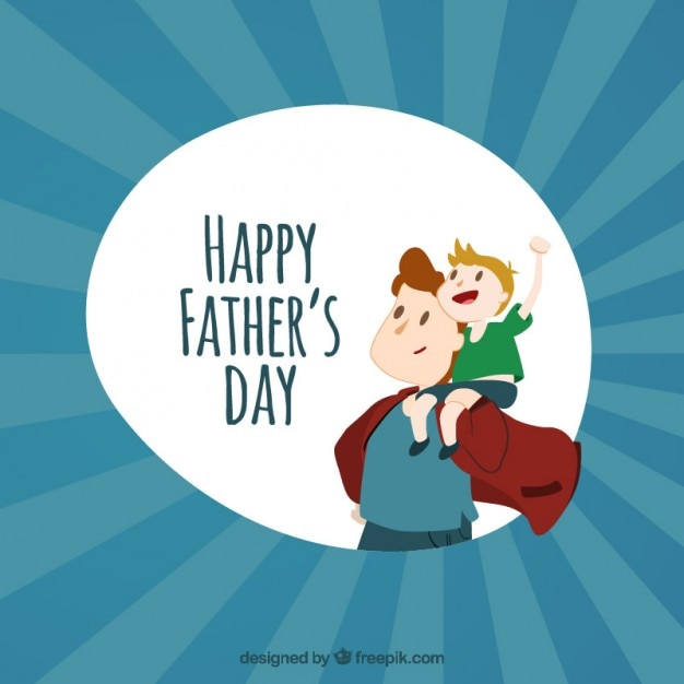 Super dad with his son card Free Vector
