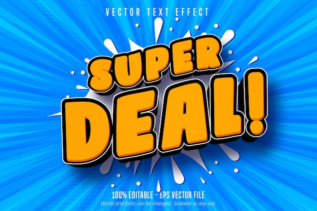 Super deal text, shopping style editable text effect Premium Vector