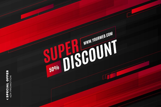 Super discount banner template with red shapes Free Vector