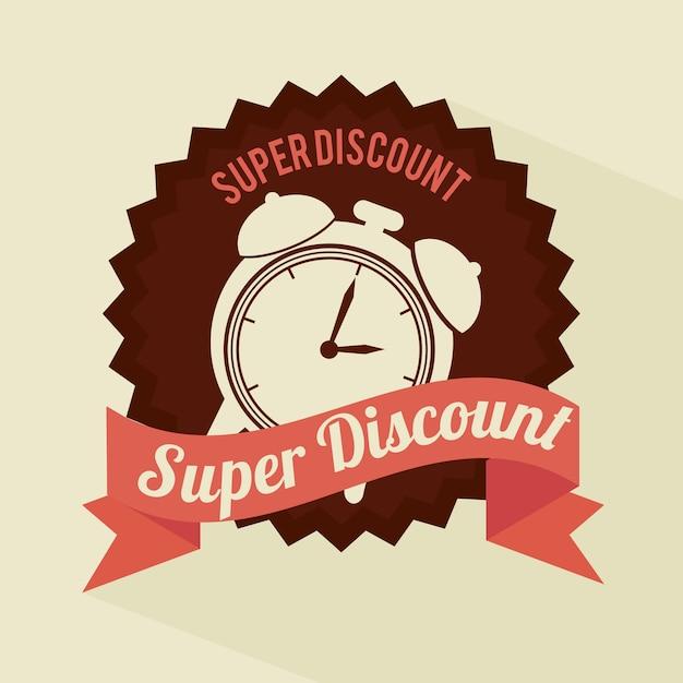 Super discount clock brown sticker banner design premium vector