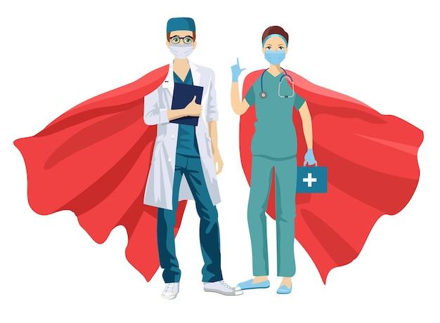 Супер доктор и медсестра в медицинских масках и накидках Premium векторы
