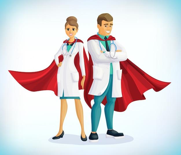 Супер доктор мультипликационный персонаж. доктор супергероя с плащами героя. концепция здравоохранения. медицинская концепция. первая помощь. работники здравоохранения против covid19 Premium векторы